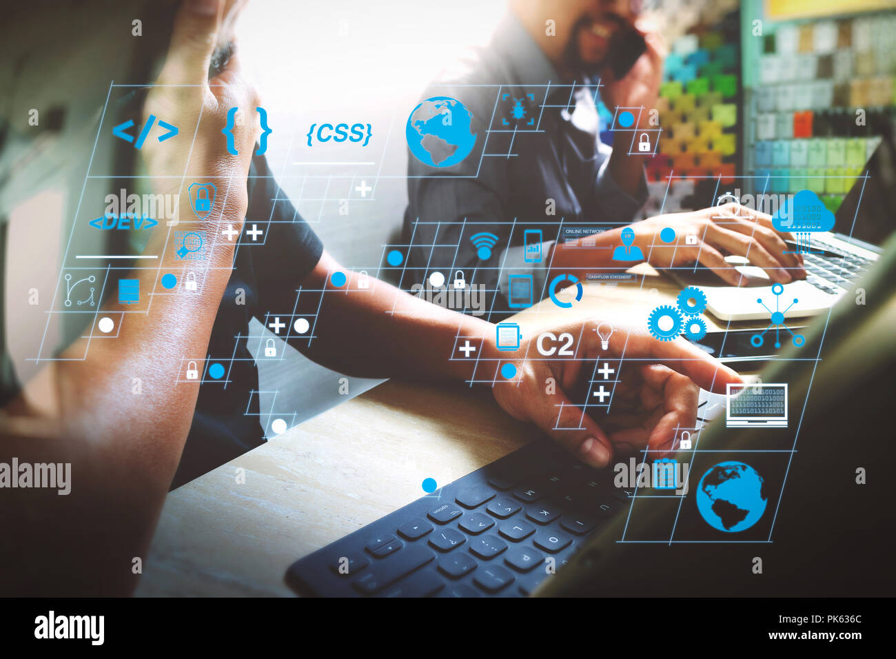 Coding software developer work with AR new design dashboard