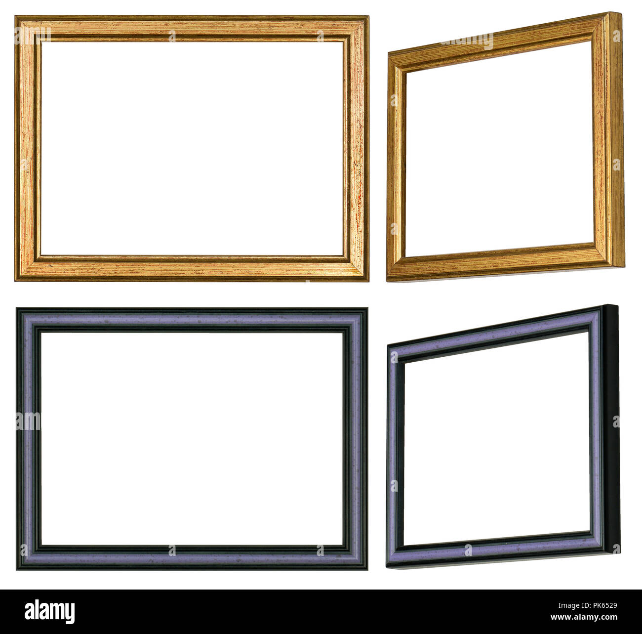 One Straight And One Slanted View Of Two Different Picture Frames