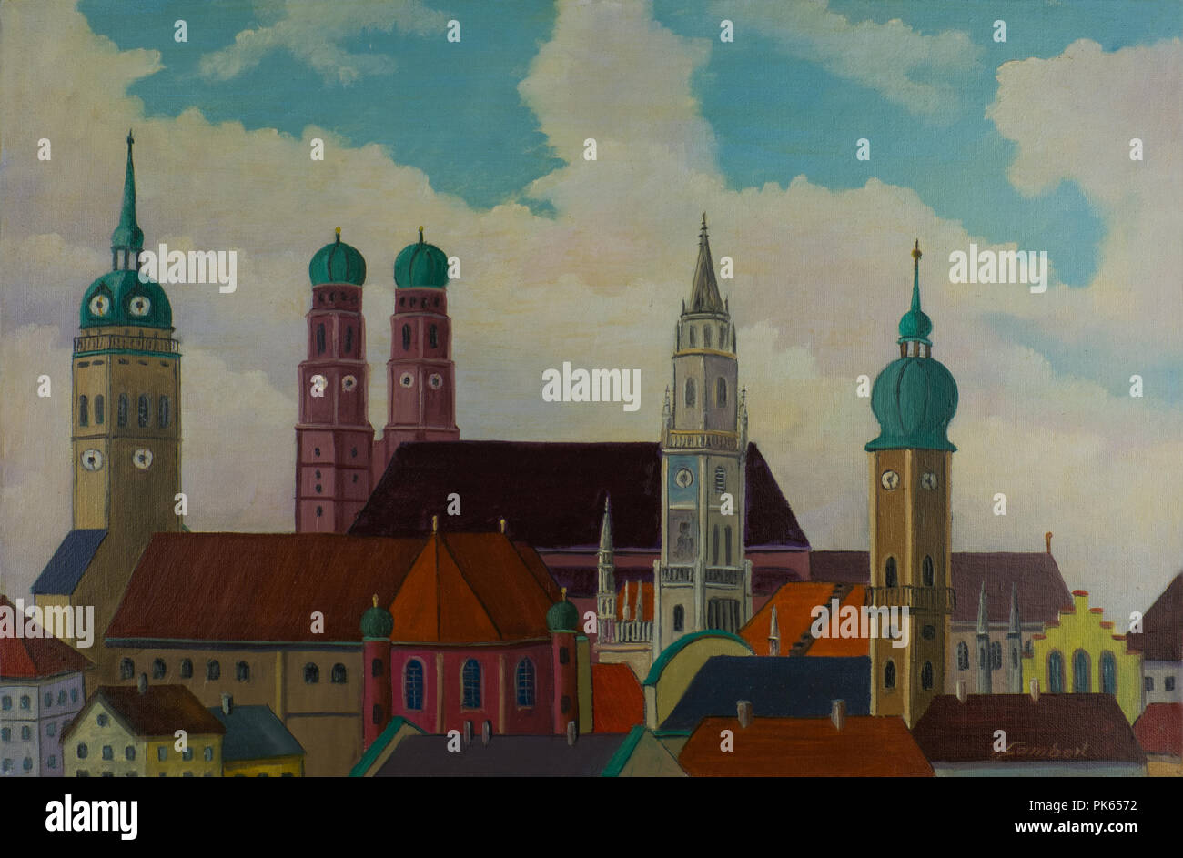 Munich City Center View from St Peter Painting /& Limited Edition Fine Art Print