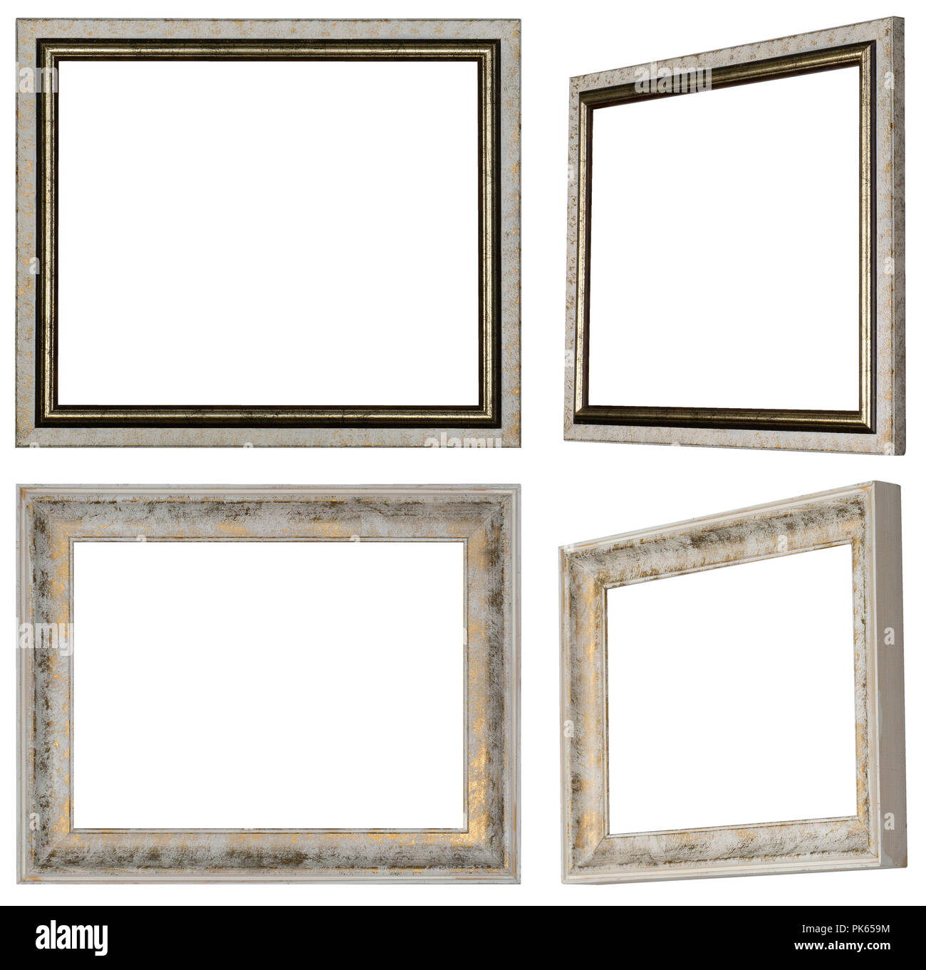 Two white picture frames painted in different views with profile and ...