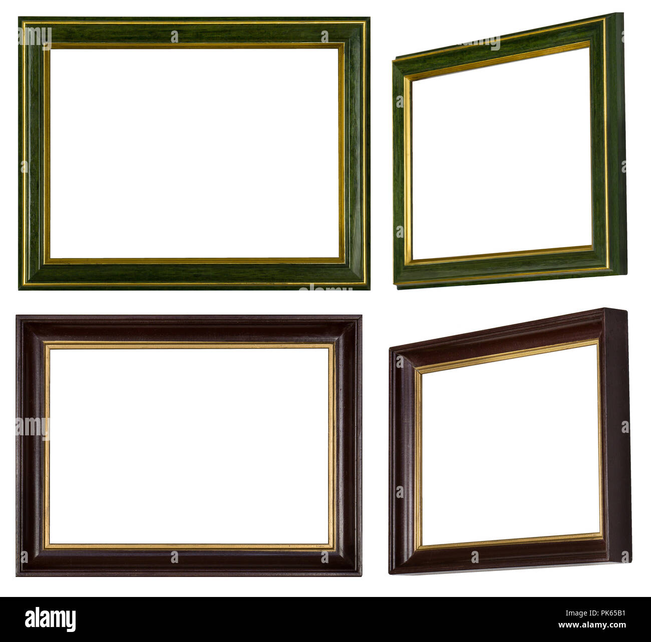 Two Green Gold And Brown Gold Picture Frames Made Of Wood Stock