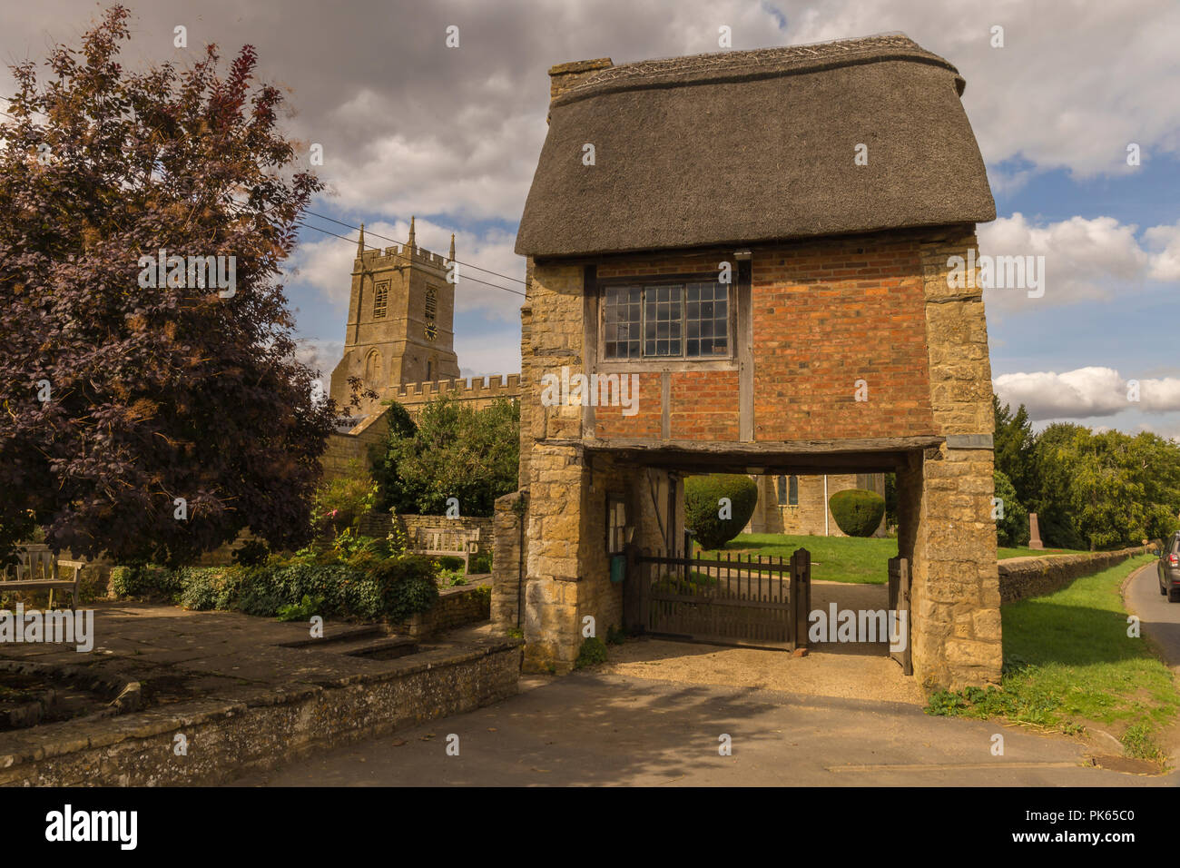 Lych Gate, St Peter & St Paul Church, Long Compton - Stock Image
