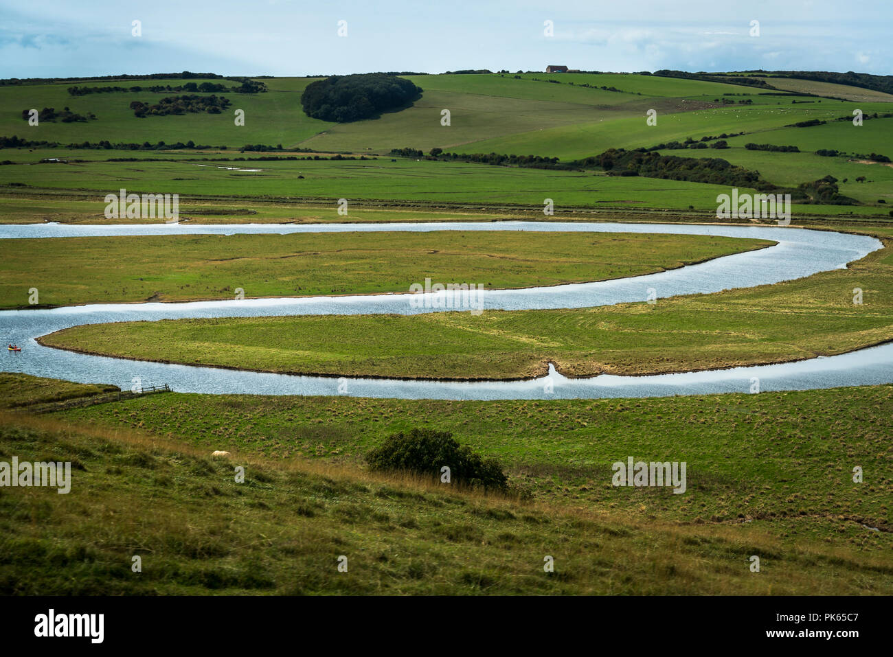 Cuckmere Haven, a meandering river forming several oxbow lakes, between Seaford and Eastbourne, East Sussex, England, UK - Stock Image