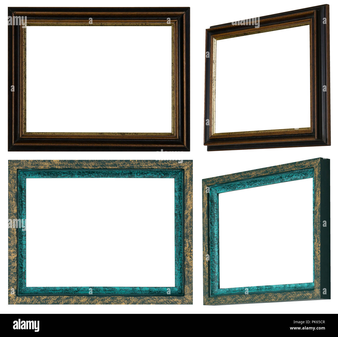 Two Self Made And Hand Painted Picture Frames In Two Versions Stock