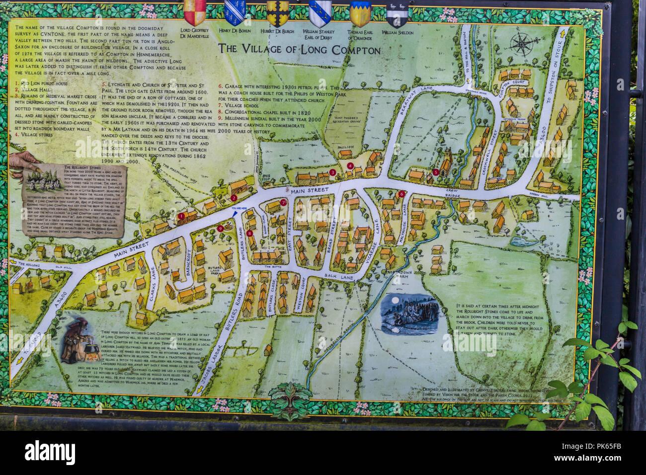 Village Map, Long Compton - Stock Image