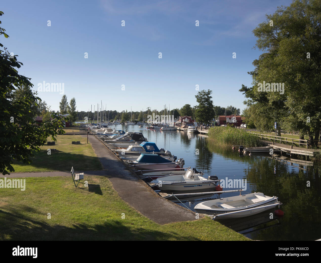 A summer evening in the guest harbour and marina in Karlsborg Sweden, for travelers on the Göta canal - Stock Image