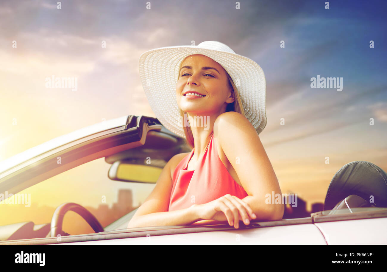 9e617ff5fc8fe happy young woman in convertible car Stock Photo  218339898 - Alamy