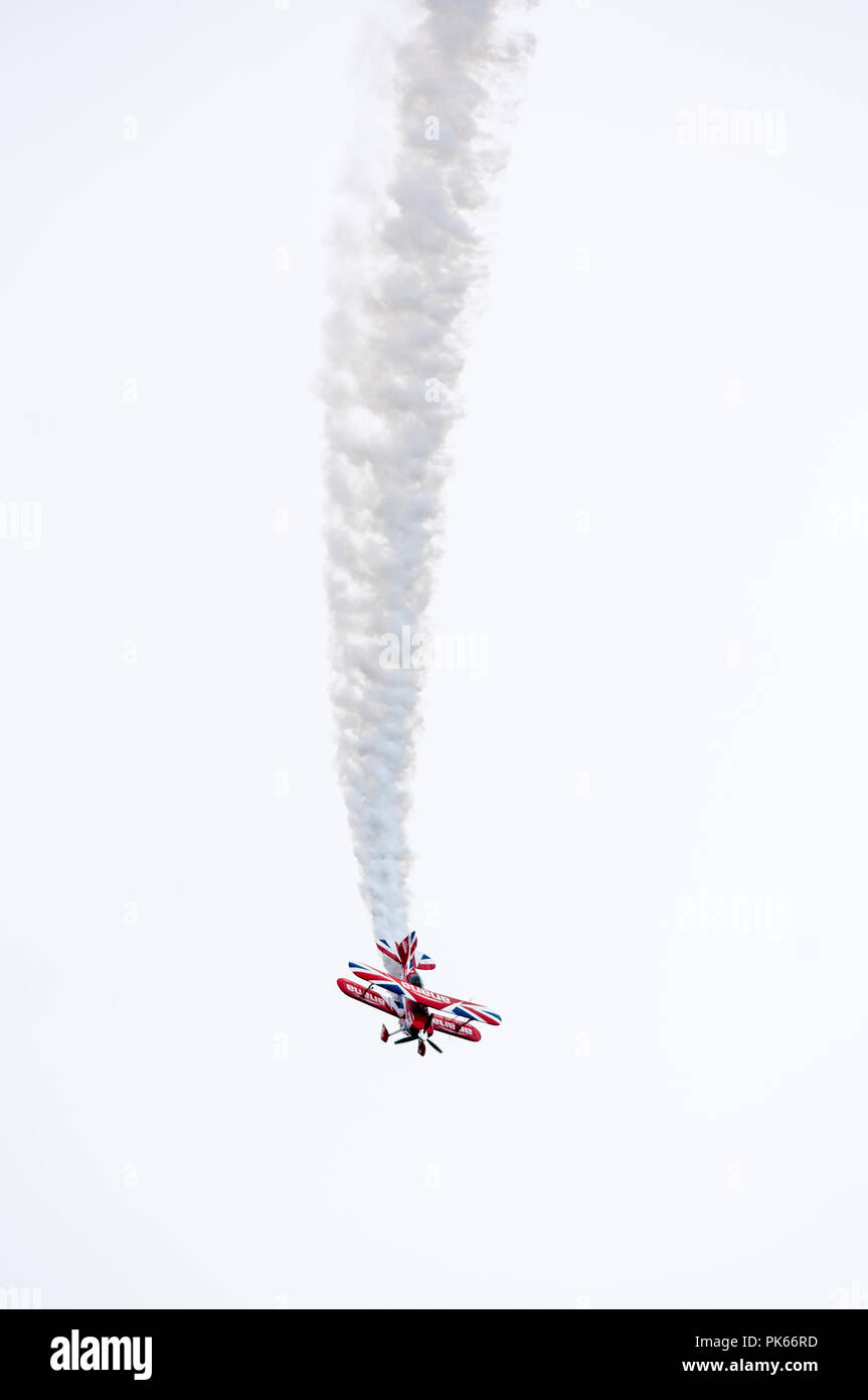 A Pitts Special S2S biplane with a highly modified. 8.5 ltre Lycoming 540 engine - Stock Image