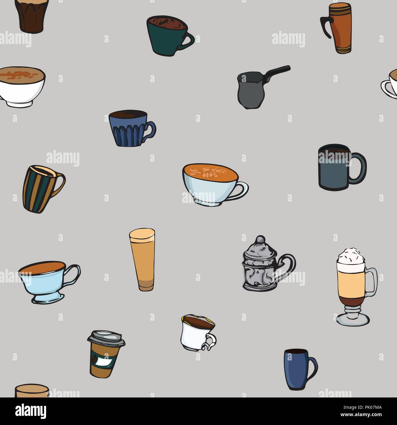 Coffee Cups Seamless Pattern Hot Drinks Vector Illustration Coffee Mugs Seamless Background Stock Vector Image Art Alamy