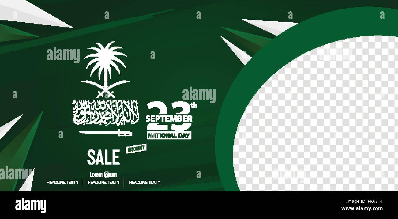 Happy Independence Day Saudi Arabia Social Media Cover Banner - Stock Vector