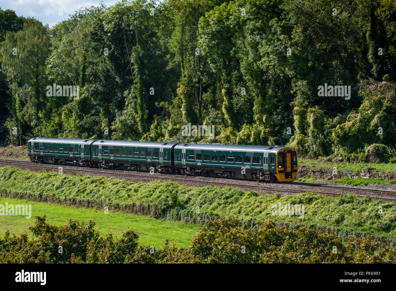 A GWR three carriage DMU in the Avon valley just coming to Avoncliff Halt, near Bradford on Avon, Wiltshire, UK. - Stock Image