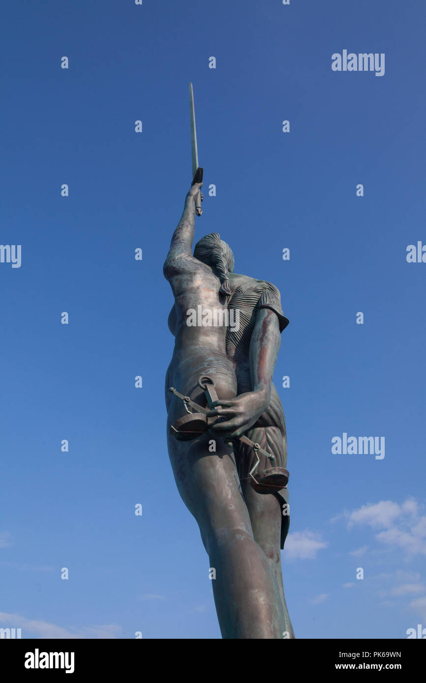 Verity statue by Damian Hirst, lIfracombe harbour, North Devon, England, United Kingdom - Stock Image