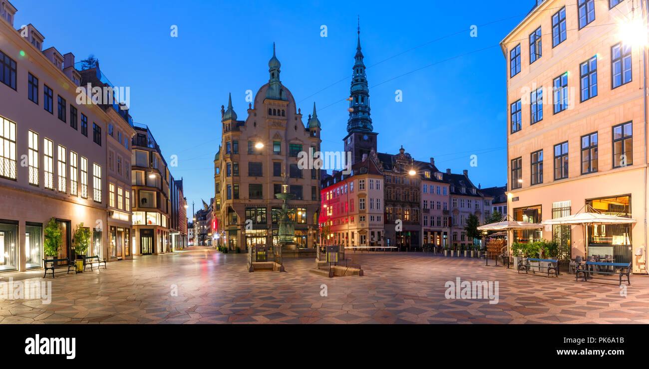 Stroget street, Amagertorv, Copenhagen, Denmark Stock Photo