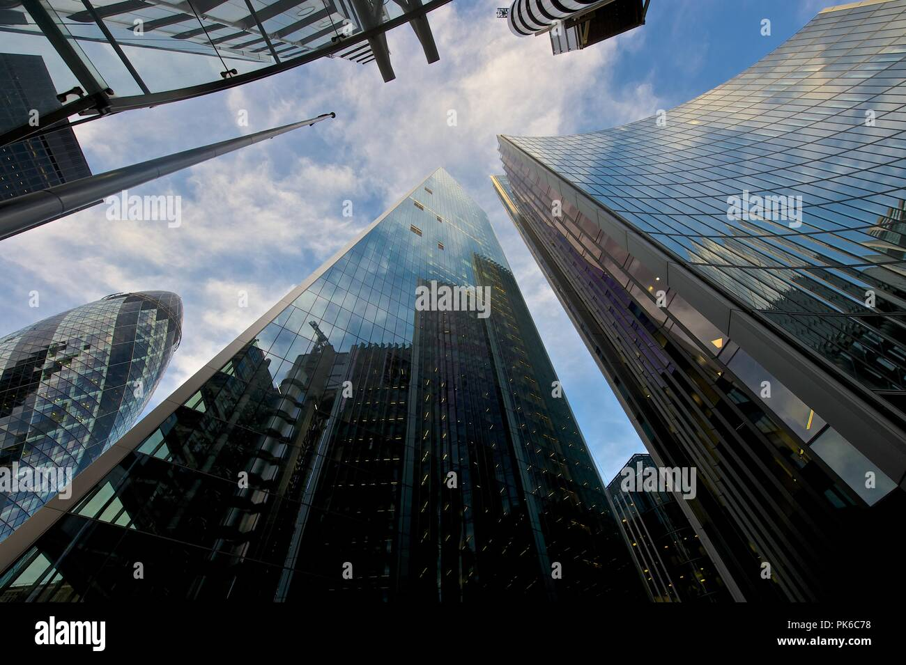 Looking up at London's sky scrapers - Stock Image
