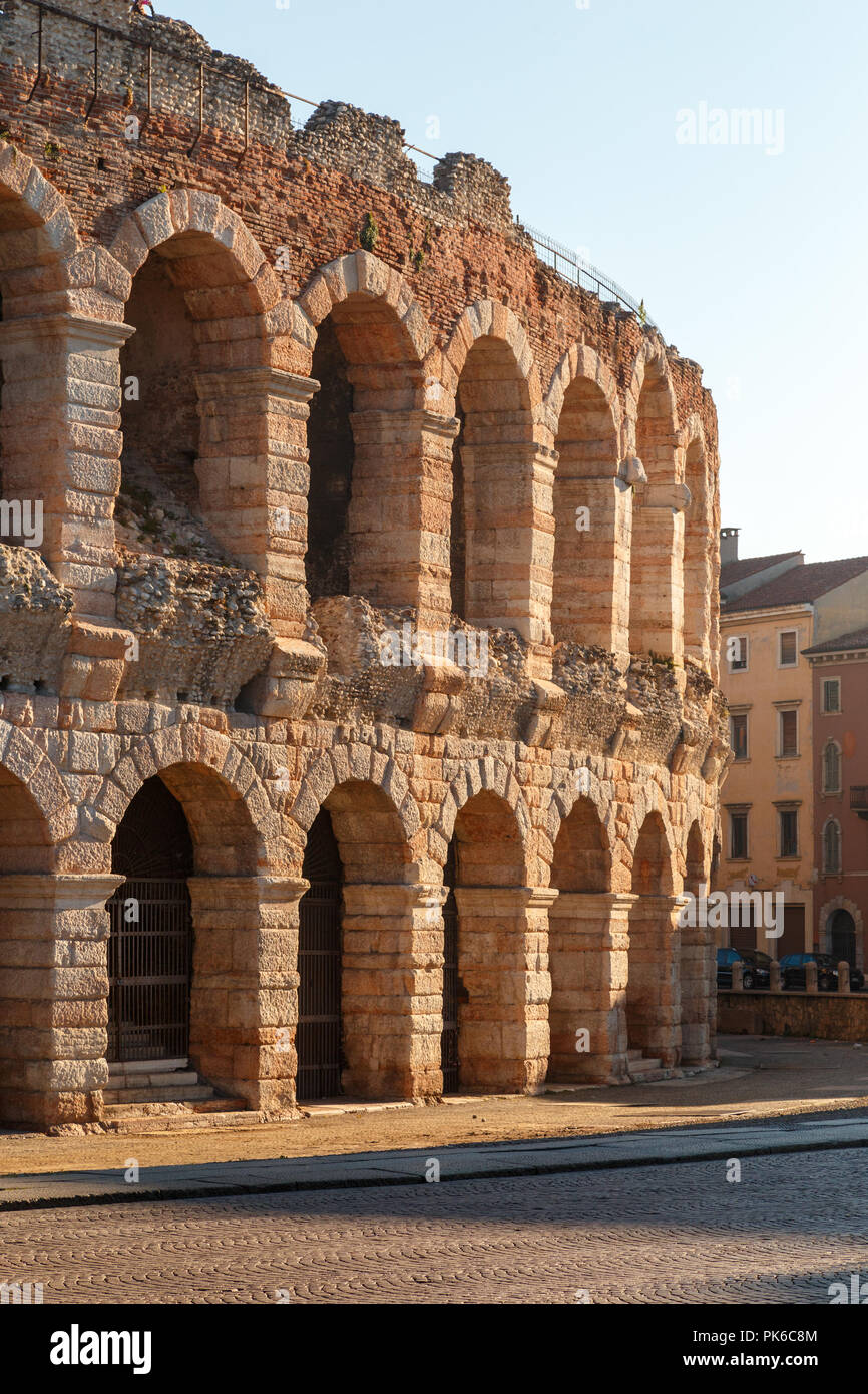 The Verona Arena (Arena di Verona) is a Roman amphitheatre in Piazza Bra. Italy. - Stock Image