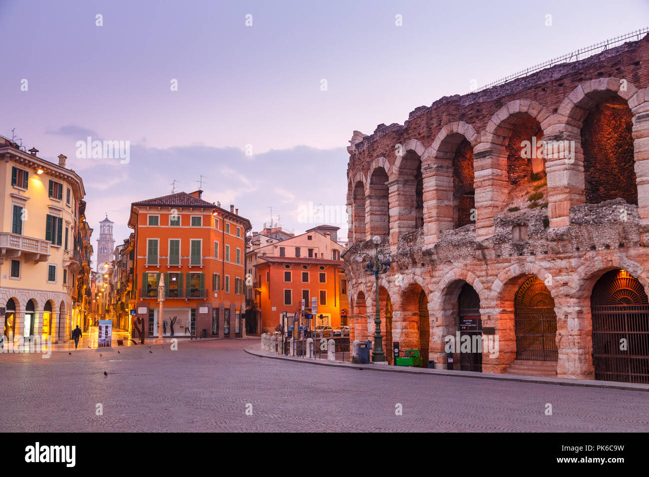 Morning in the streets of Verona near the Coliseum Arena di Verona. Italy. - Stock Image