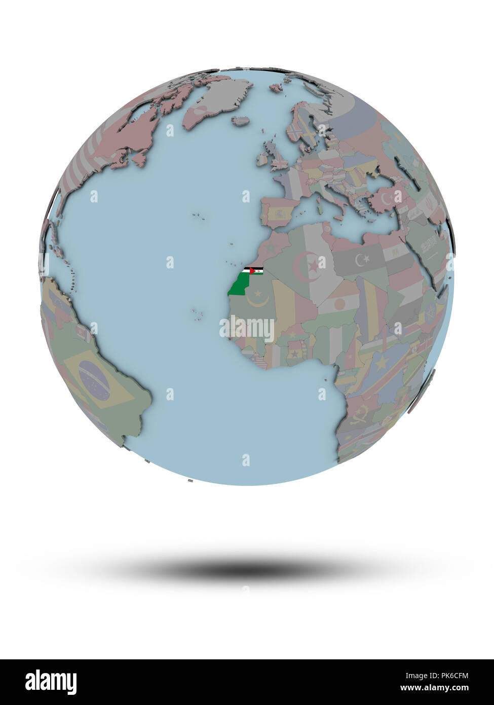Western Sahara with national flag on political globe with shadow isolated on white background. 3D illustration. Stock Photo
