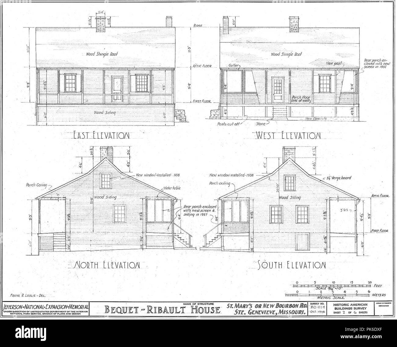 Bequet-Ribault House Elevations--Ste Genevieve MO. - Stock Image