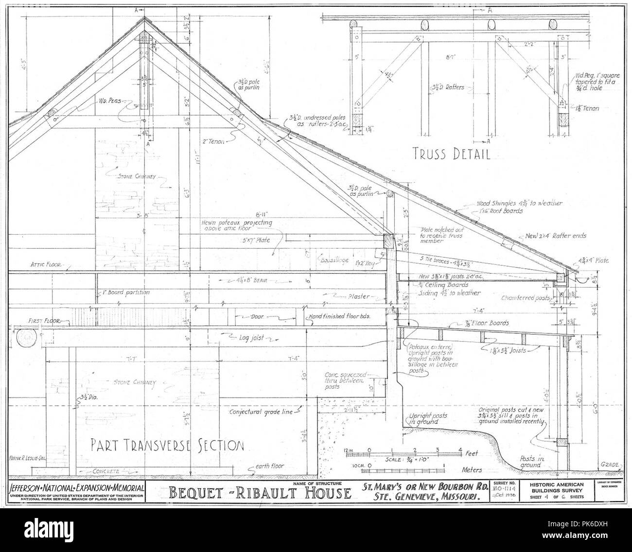 Bequet-Ribault House Transverse Section with Details--Ste Genevieve MO. - Stock Image