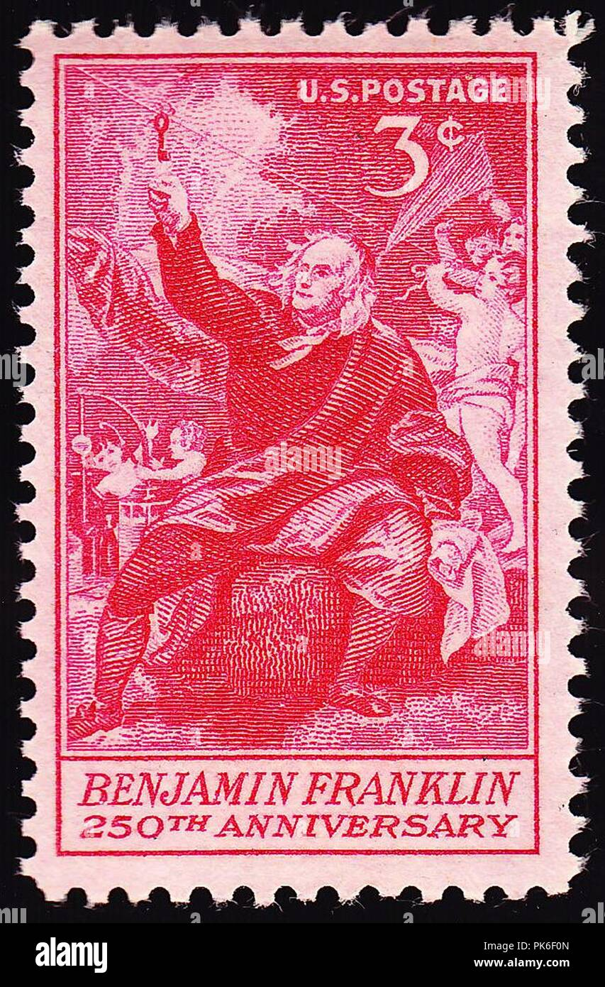 Ben Franklin 250th 1956 issue-3c. - Stock Image