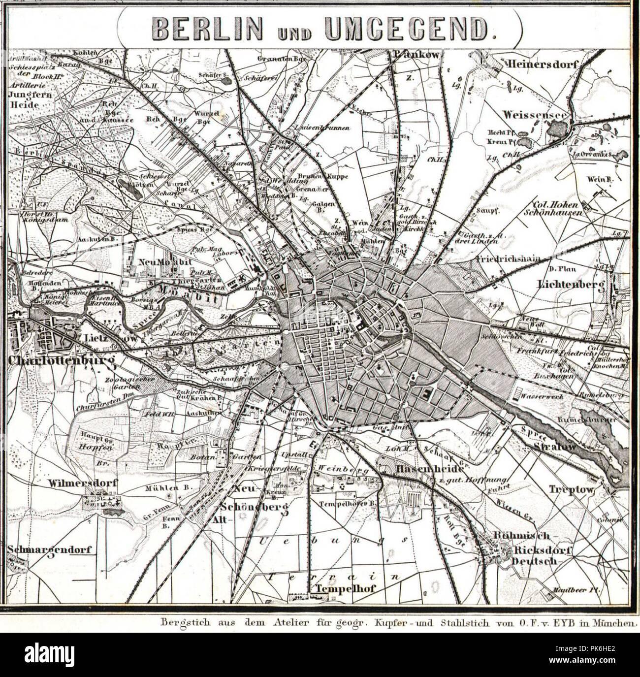 Berlin Karte Stahlstich 1860. - Stock Image