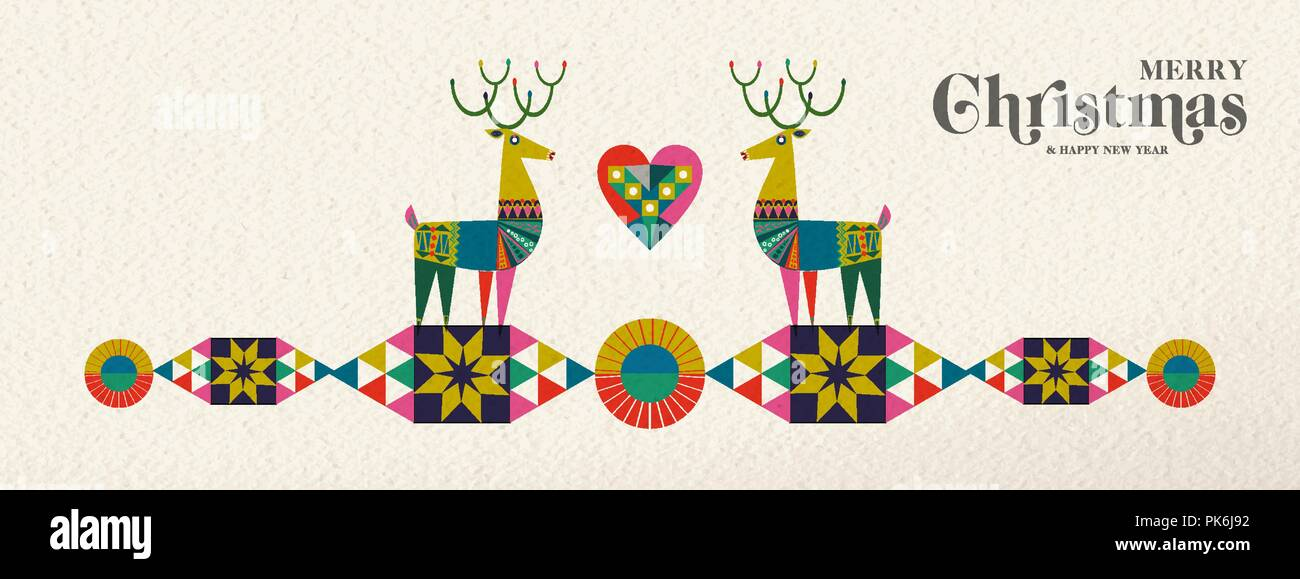 merry christmas and happy new year banner illustration of cute deer in vintage geometric shape style colorful winter holiday scandinavian design eps