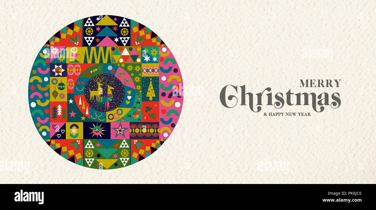 merry christmas and happy new year banner illustration of vintage geometric shape art colorful winter holiday scandinavian design eps10 vector