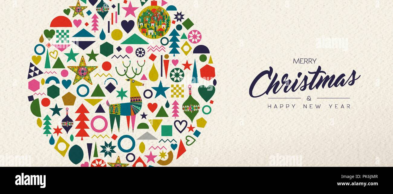 merry christmas and happy new year banner illustration of vintage geometric shape icons colorful winter holiday scandinavian design eps10 vector