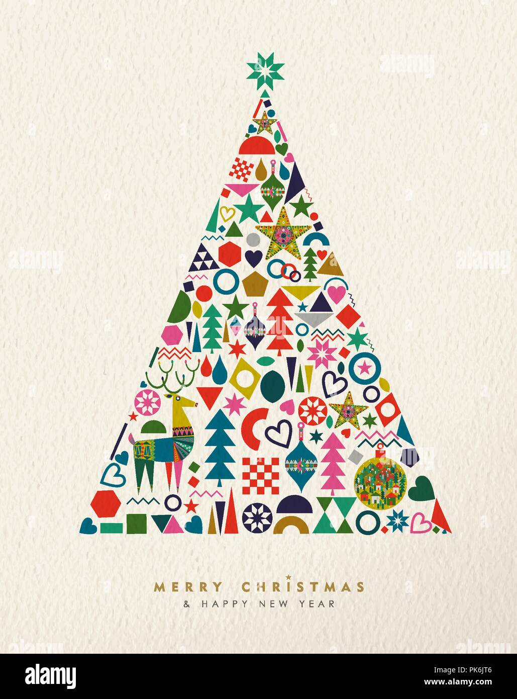 merry christmas and happy new year card illustration of vintage geometric icons in winter pine tree shape holiday scandinavian design eps10 vector