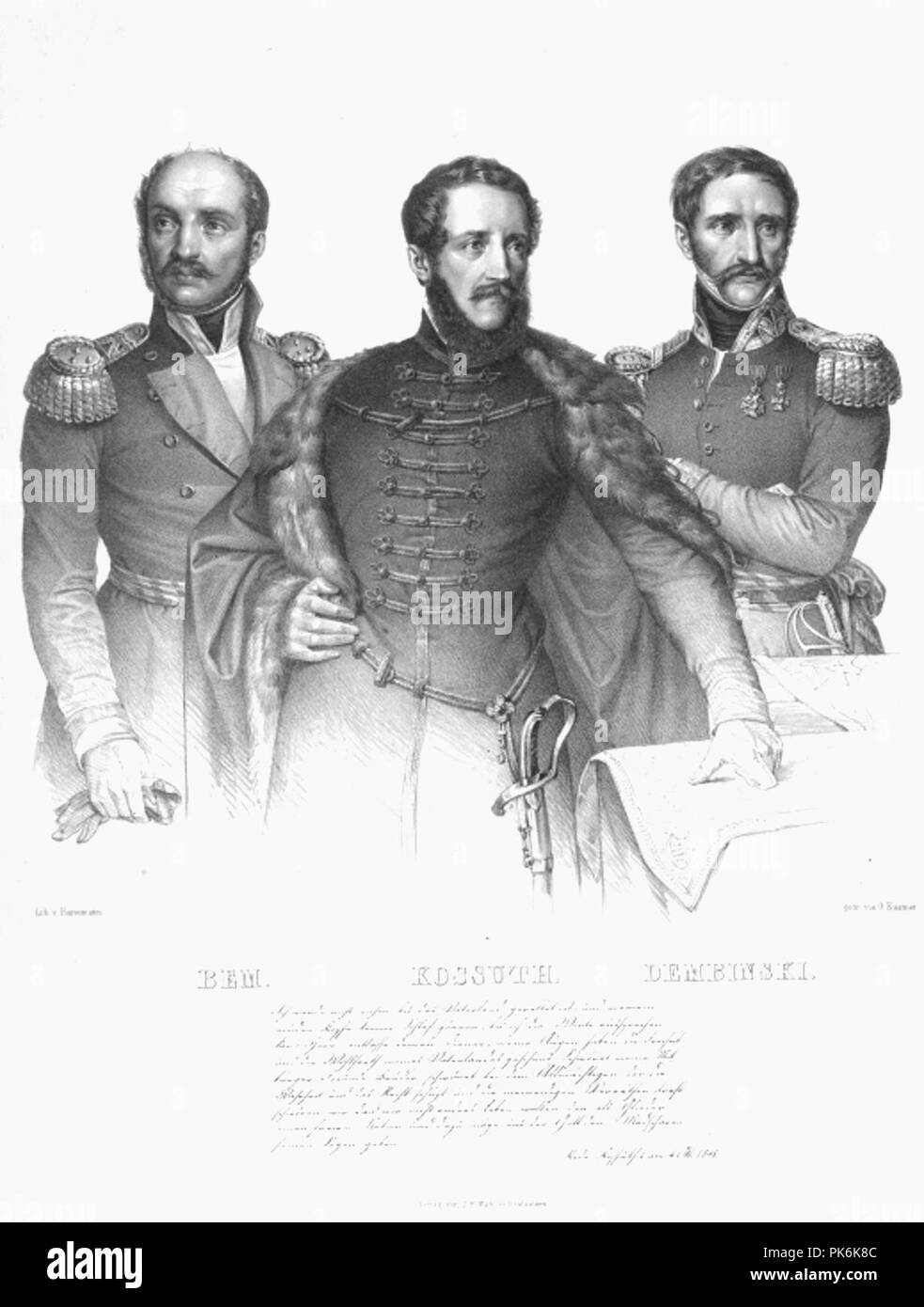 Bem - Kossuth - Dembinsky. - Stock Image