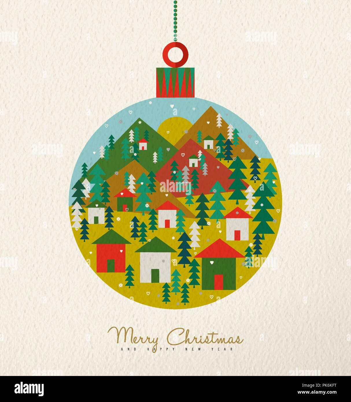 Merry Christmas holiday folk art hanging bauble card illustration ...