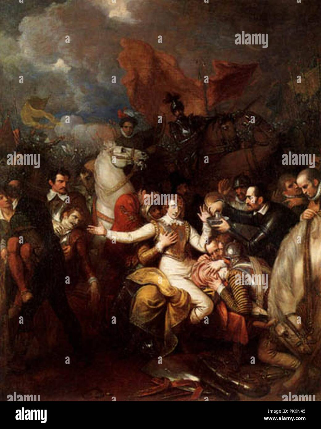 Benjamin West - The Fatal Wounding of Sir Philip Sidney. - Stock Image