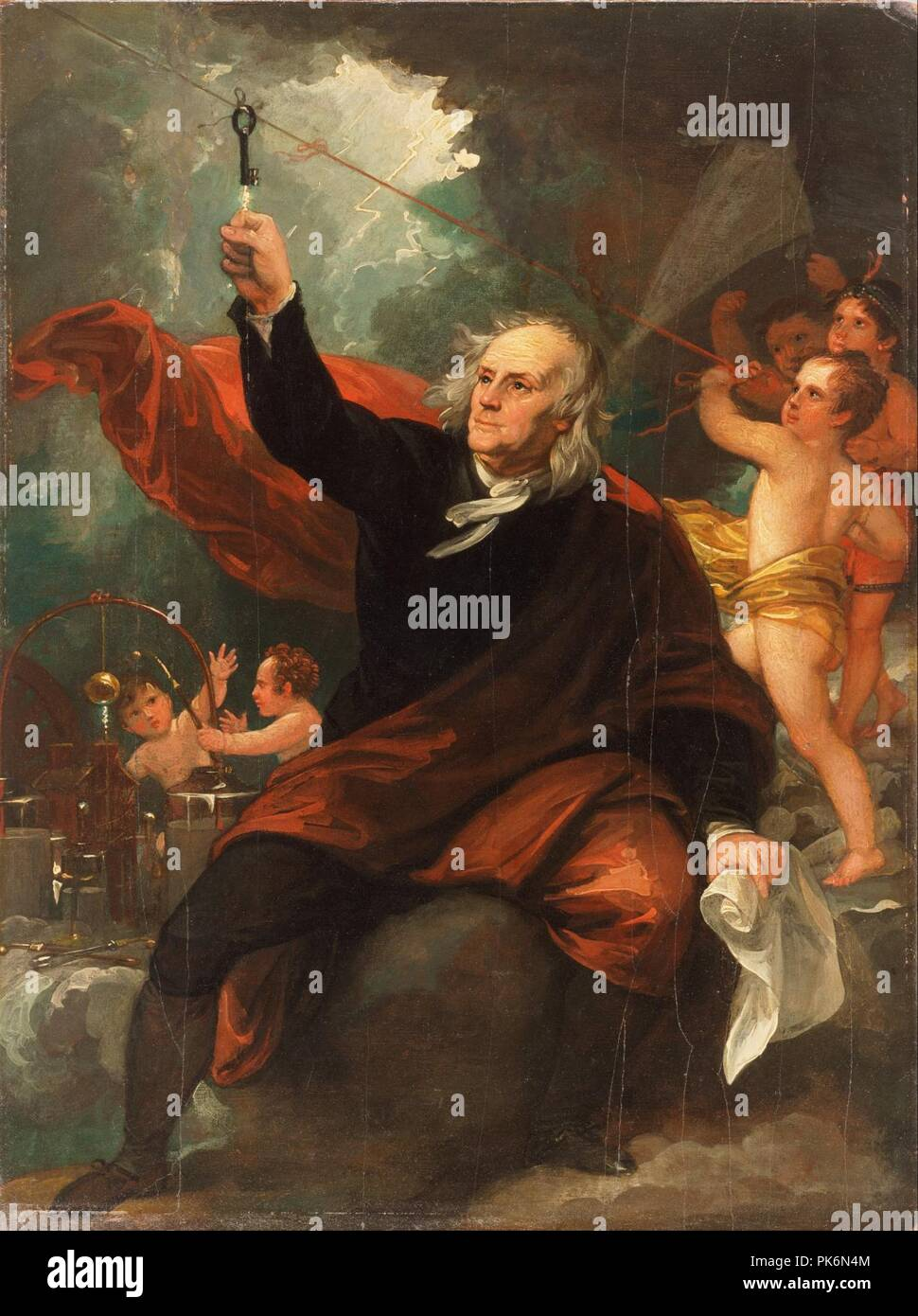 Benjamin West, English (born America) - Benjamin Franklin Drawing Electricity from the Sky - Stock Photo