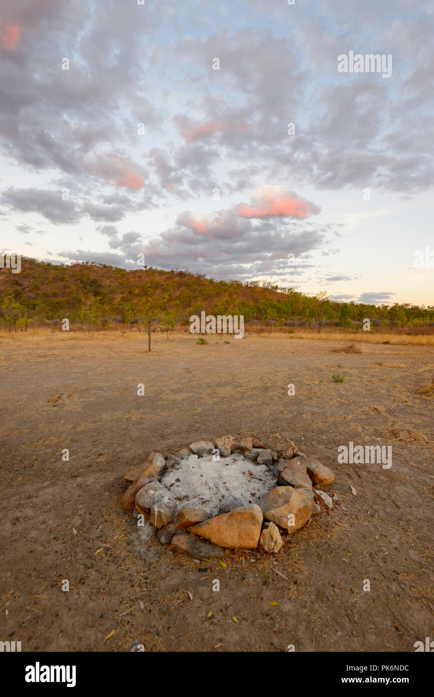 Campfire ring at Sunrise in the Outback at Chillagoe, Northern Queensland, QLD, Australia - Stock Image