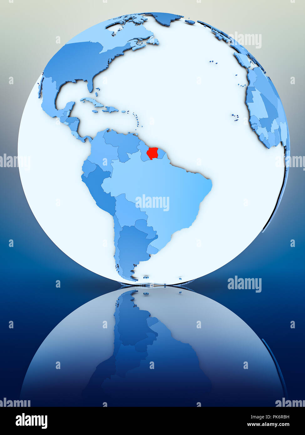 Suriname on blue globe on reflective surface. 3D illustration. - Stock Image