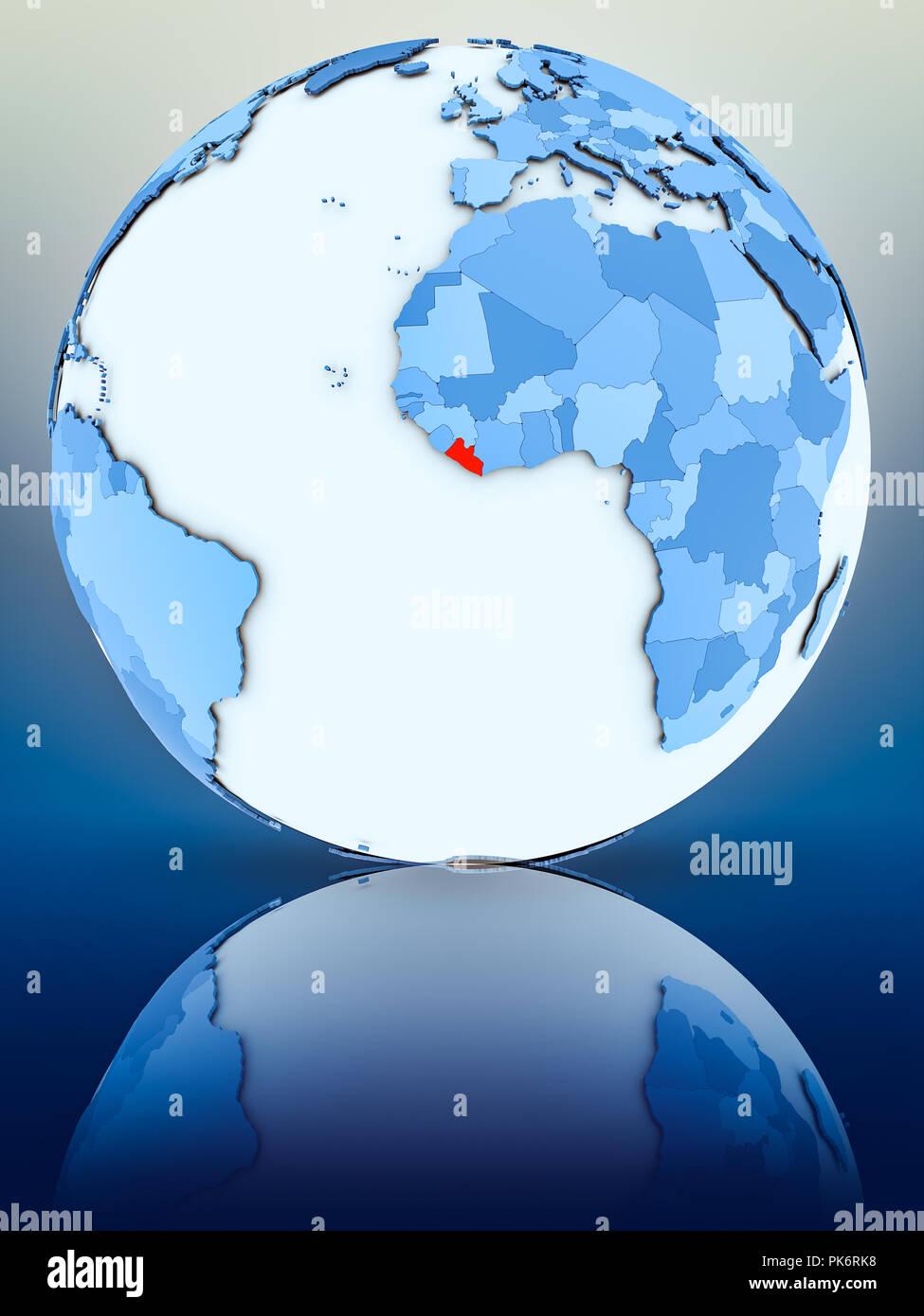 Liberia on blue globe on reflective surface. 3D illustration. - Stock Image