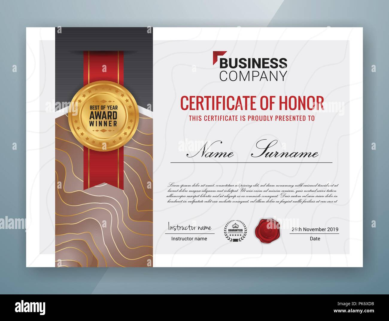 Multipurpose Professional Certificate Template Design Stock Vector