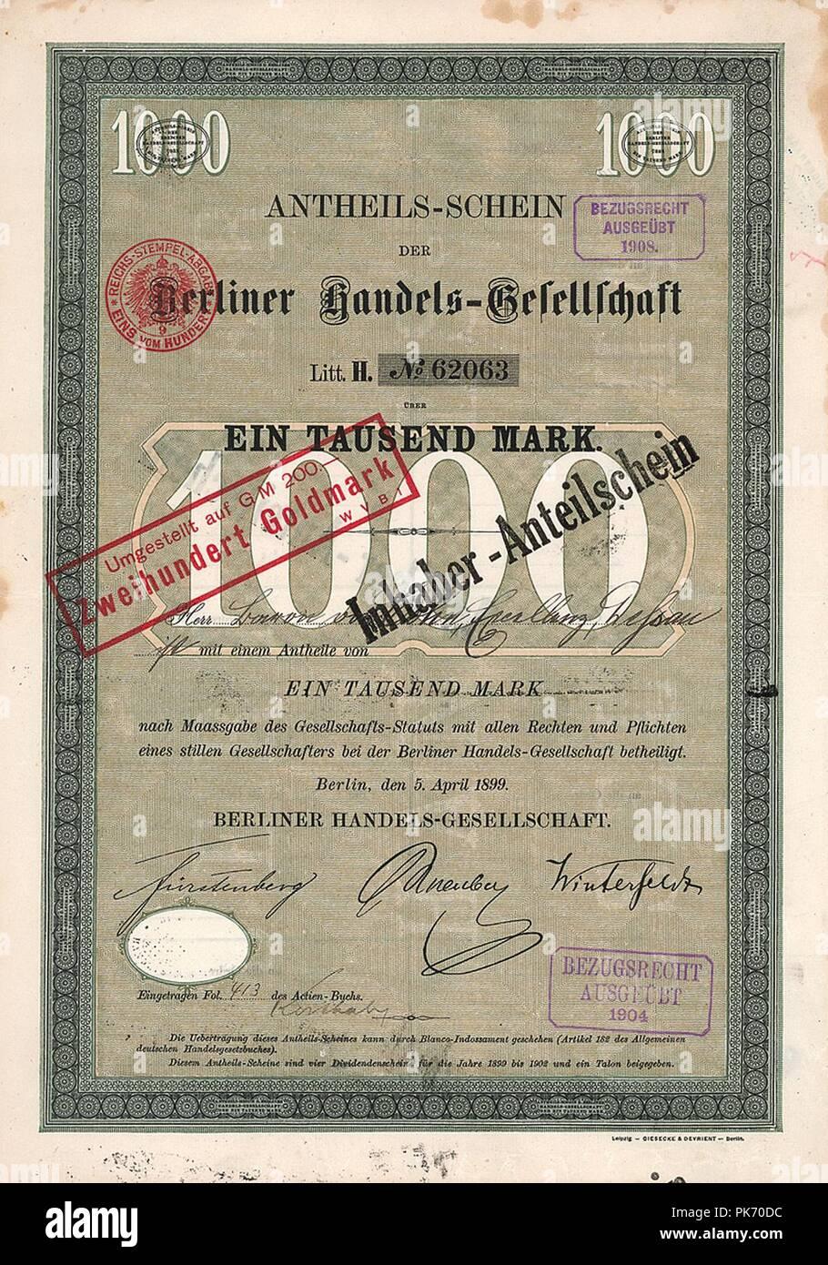 Berliner Handels-Gesellschaft 1899. - Stock Image