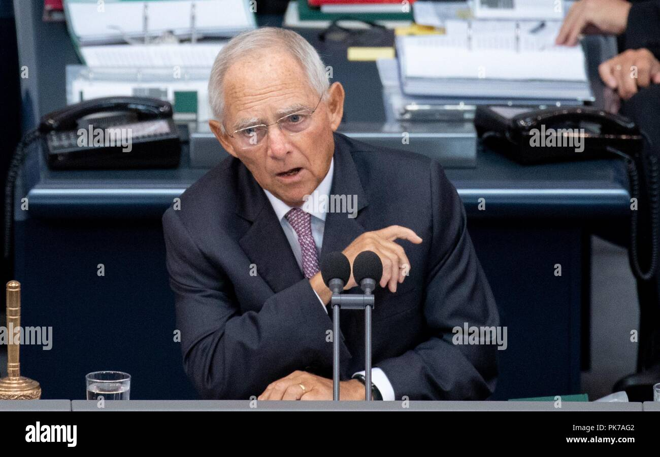 Berlin, Germany. 11th Sept, 2018. Wolfgang Schäuble (CDU), President of the Bundestag, speaks at the plenary session in the German Bundestag. The main topic of the 47th session of the 19th legislative period is the Federal Government's draft budget 2019 and the federal budget 2018 to 2022. Photo: Kay Nietfeld/dpa Credit: dpa picture alliance/Alamy Live News - Stock Image
