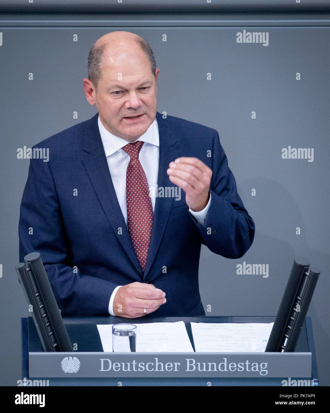 Berlin, Germany. 11 September 2018, Berlin: Olaf Scholz (SPD), Federal Minister of Finance, speaks at the plenary session in the German Bundestag. The main topic of the 47th session of the 19th legislative period is the Federal Government's draft budget 2019 and the federal budget 2018 to 2022. Photo: Bernd von Jutrczenka/dpa Credit: dpa picture alliance/Alamy Live News - Stock Image