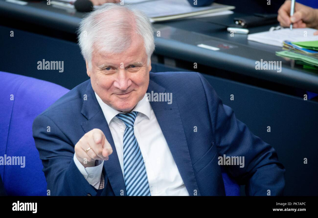 Berlin, Germany. 11 September 2018, Berlin: Horst Seehofer (CSU), Federal Minister of the Interior, for Building and Home, gestures at the plenary session in the German Bundestag. The main topic of the 47th session of the 19th legislative period is the Federal Government's draft budget 2019 and the federal budget 2018 to 2022. Photo: Bernd von Jutrczenka/dpa Credit: dpa picture alliance/Alamy Live News - Stock Image