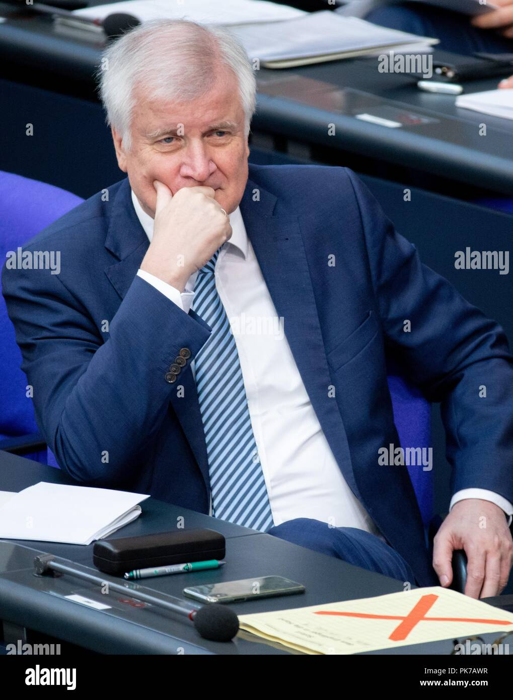 Berlin, Germany. 11 September 2018, Berlin: Horst Seehofer (CSU), Federal Minister of the Interior, for Building and Home, attends the plenary session in the German Bundestag. The main topic of the 47th session of the 19th legislative period is the Federal Government's draft budget 2019 and the federal budget 2018 to 2022. Photo: Bernd von Jutrczenka/dpa Credit: dpa picture alliance/Alamy Live News - Stock Image