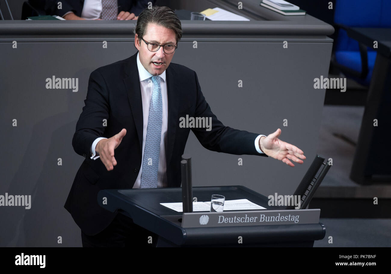 Berlin, Germany. 11 September 2018, Berlin: Andreas Scheuer (CSU), Federal Minister of Transport and Digital Infrastructure, will address the plenary session in the German Bundestag. The main topic of the 47th session of the 19th legislative period is the Federal Government's draft budget 2019 and the federal budget 2018 to 2022. Photo: Bernd von Jutrczenka/dpa Credit: dpa picture alliance/Alamy Live News - Stock Image