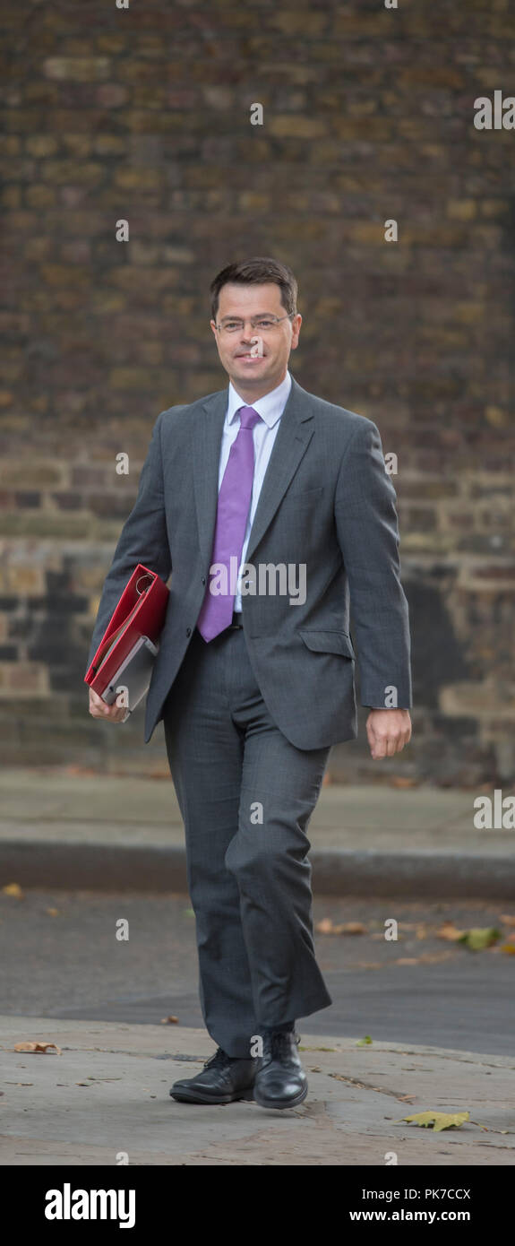 Downing Street, London, UK. 11 September 2018. James Brokenshire, Secretary of State for Housing, Communities and Local Government arrives in Downing Street for weekly cabinet meeting. Credit: Malcolm Park/Alamy Live News. Stock Photo