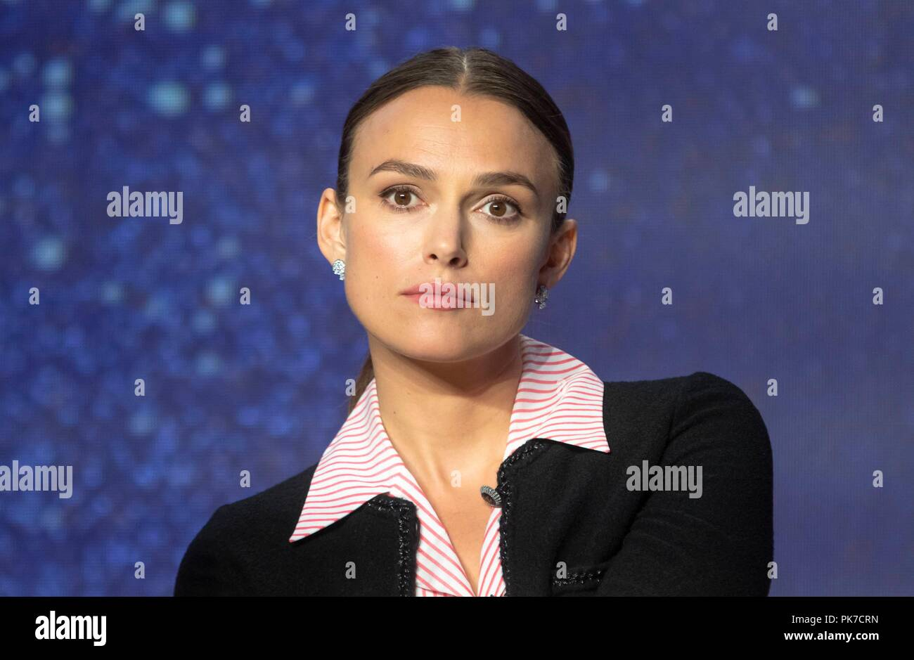 Keira Knightley attends the press conference of 'Colette' during the 43rd Toronto International Film Festival, tiff, at Bell Lightbox in Toronto, Canada, on 10 September 2018. | usage worldwide - Stock Image