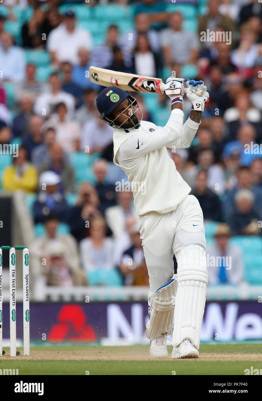 Kia Oval, London, UK. 11th Sep, 2018. Specsavers International Test Match Cricket, 5th test, day 5; KL Rahul of India Credit: Action Plus Sports/Alamy Live News - Stock Image