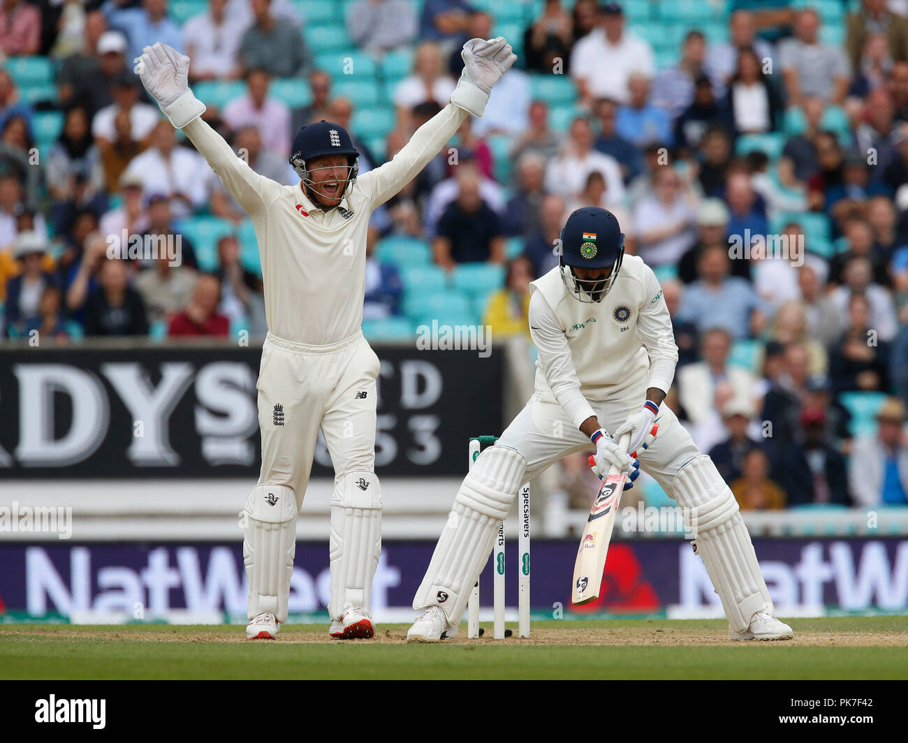 Kia Oval, London, UK. 11th Sep, 2018. Specsavers International Test Match Cricket, 5th test, day 5; England keeper Jonny Bairstow appeals for lbw against KL Rahul of India Credit: Action Plus Sports/Alamy Live News - Stock Image