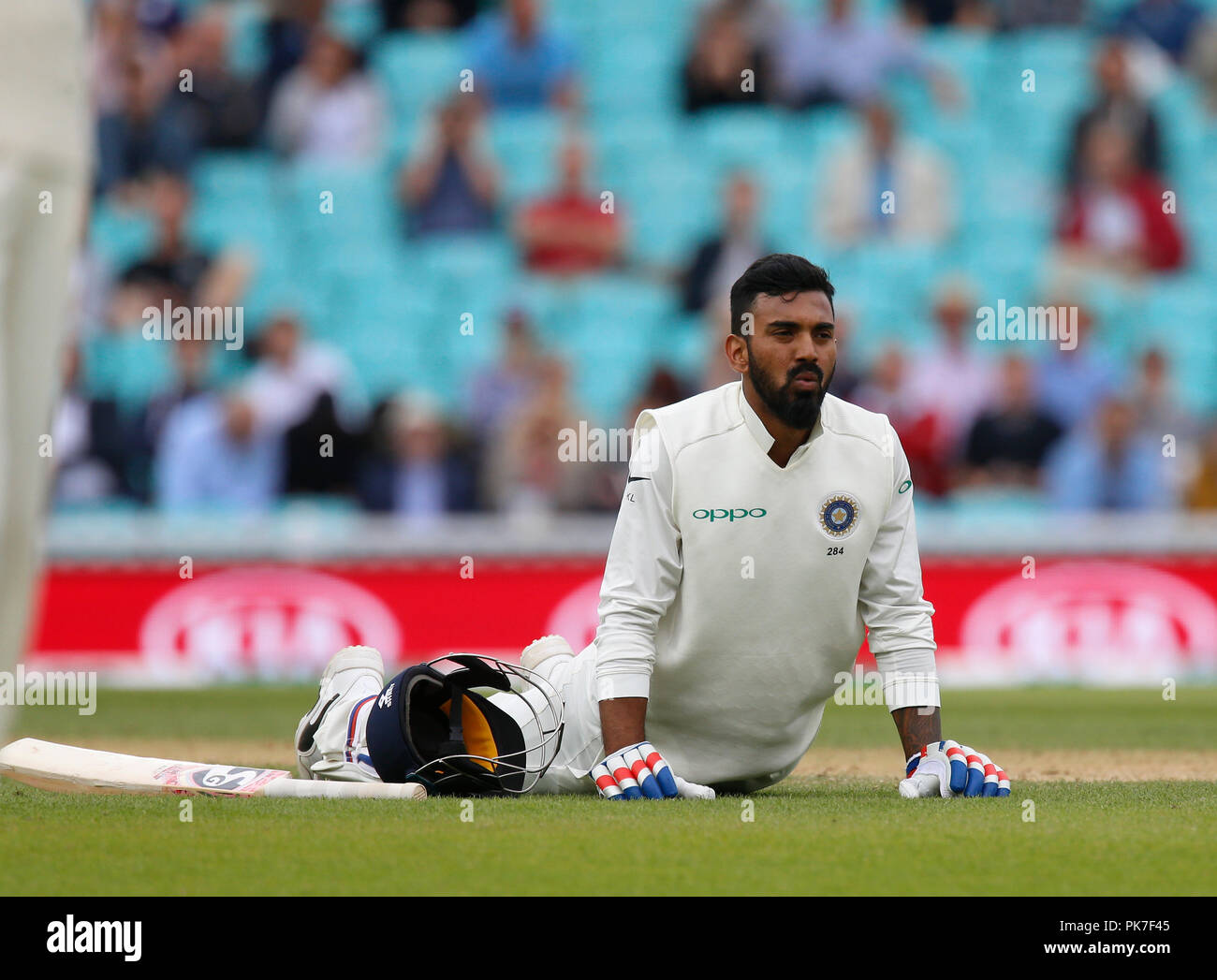 Kia Oval, London, UK. 11th Sep, 2018. Specsavers International Test Match Cricket, 5th test, day 5; KL Rahul of India stretches during a break in play Credit: Action Plus Sports/Alamy Live News - Stock Image
