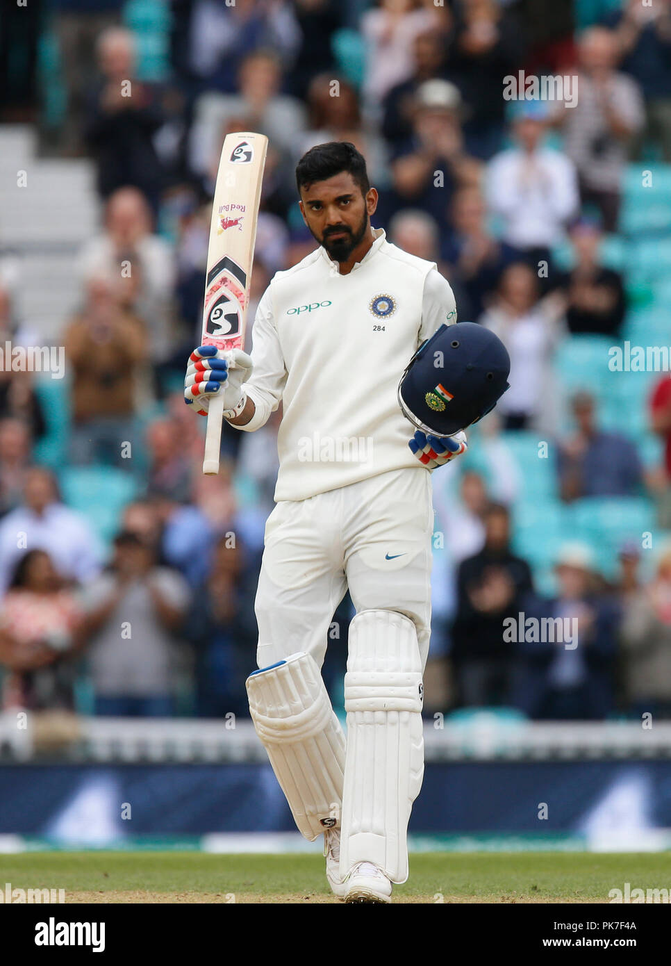 Kia Oval, London, UK. 11th Sep, 2018. Specsavers International Test Match Cricket, 5th test, day 5; KL Rahul of India acknowledges the Oval crowd's applause as he reaches his century Credit: Action Plus Sports/Alamy Live News - Stock Image