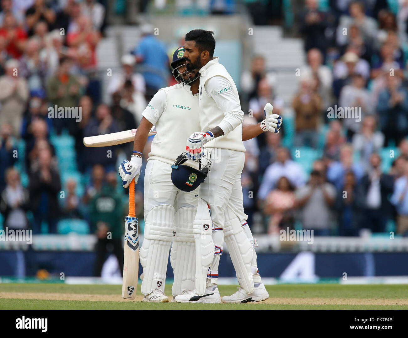 Kia Oval, London, UK. 11th Sep, 2018. Specsavers International Test Match Cricket, 5th test, day 5; KL Rahul of India is hugged by Rishabh Pant after he reaches his century Credit: Action Plus Sports/Alamy Live News Stock Photo